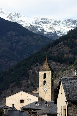 Clock tower in the village of Ordino in Andorra