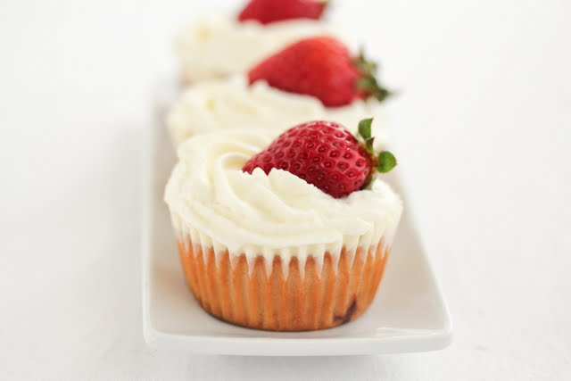 close-up photo of a Strawberries and Cream Cupcake