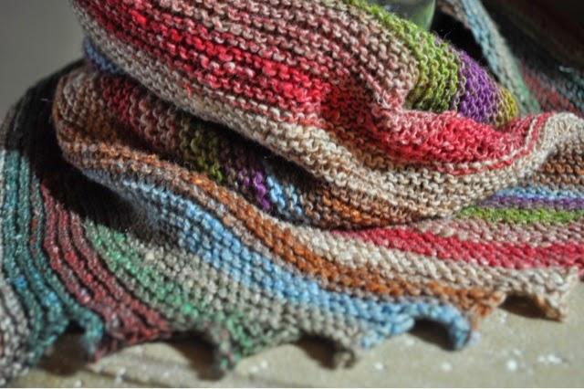 noro Taiyo sock yarn hitchhiker scarf