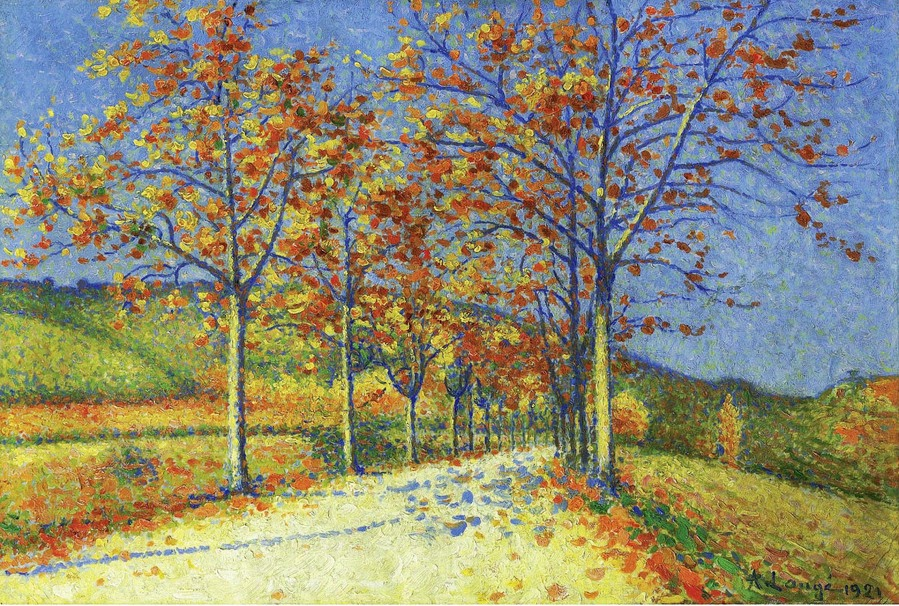 Achille Laugé - The Road with Almond Trees in Autumn, 1921