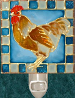 tan rooster with blue, cream squares