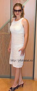 Вязаное крючком коктейльное платье со схемой и описание