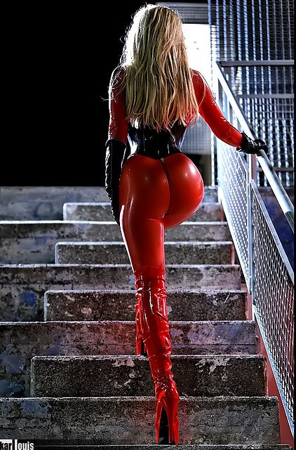 sexy mistress in red latex