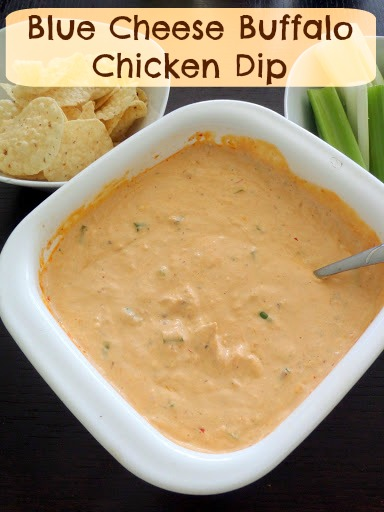 Blue Cheese Buffalo Chicken Dip:  A warm and spicy dip made with cream cheese, sour cream, blue cheese, chicken, and buffalo sauce.