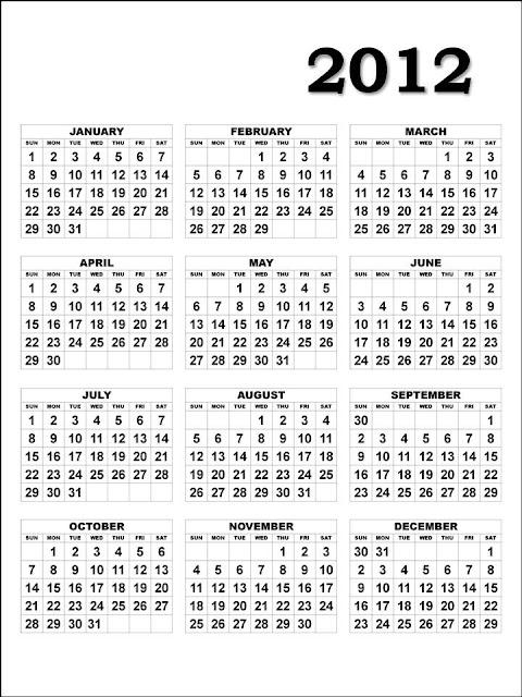 calendar 2012 printable. 2012 Printable Calendar: