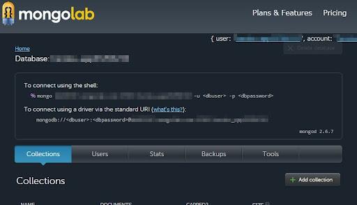 [スクリーンショット]MongoLabの管理画面