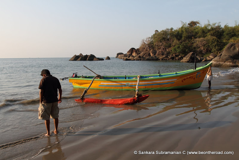 Soaking in the first rays of the sun at Honeymoon beach, South Goa