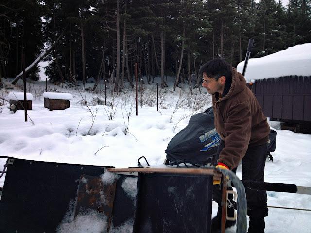 Dario Martinez, Girdwood, Alaska. Knocking snow off the sled.