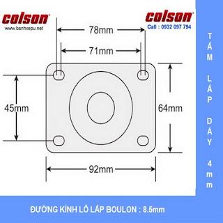 kích thước tấm lắp bánh xe đẩy chịu nhiệt 230 độ C liên tục phi 75 Colson www.banhxedayhang.net