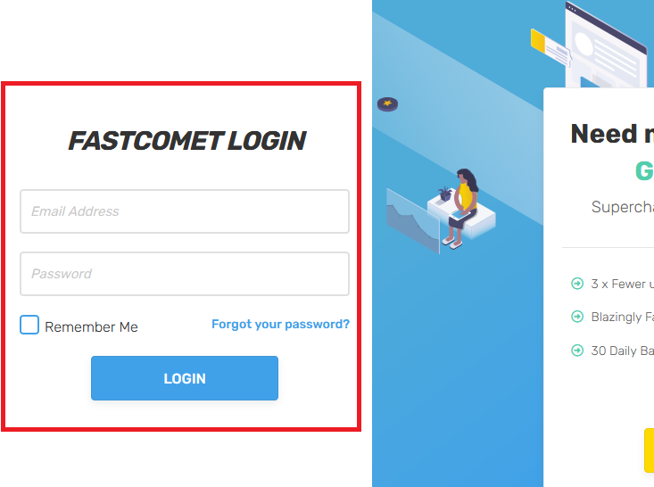 Make a Photography Website with WordPress - FastComet Login Area