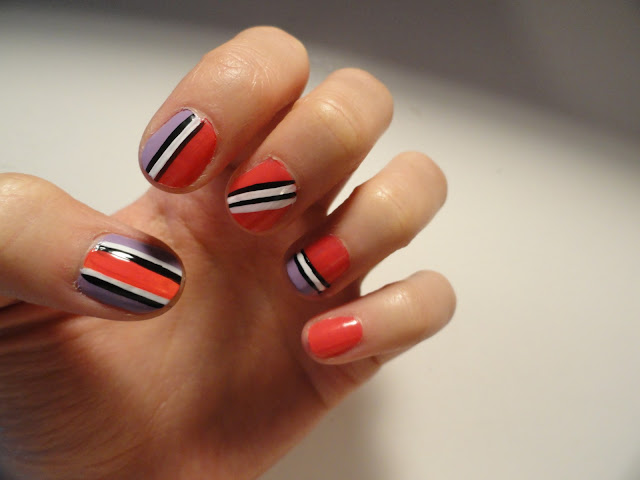 nail art with bright colors, striped nails