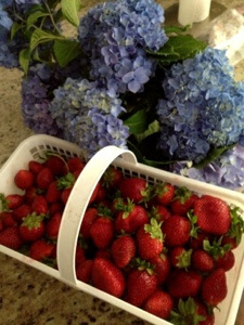 An over head picture of a basket of strawberries and blue hydrangea flowers