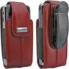 BlackBerry Blackberry Dark Red Leather Vertical Pouch With Belt Clip For Pearl 8100