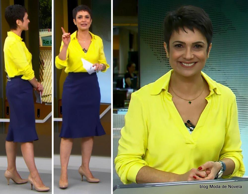 moda do programa Jornal Hoje - look da Sandra Annenberg com saia ruffle hem doa 4 de julho