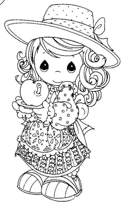 Momentos preciosos menina com coloração maçã