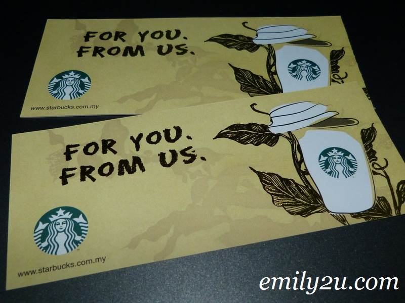 Emily2U Freebie Giveaway #15 - One Starbucks Voucher (12oz, Tall Size)