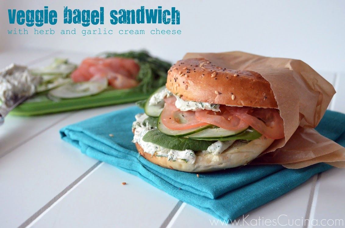 Veggie Bagel Sandwich with Herb and Garlic Cream Cheese from KatiesCucina.com #breakfast #brunch