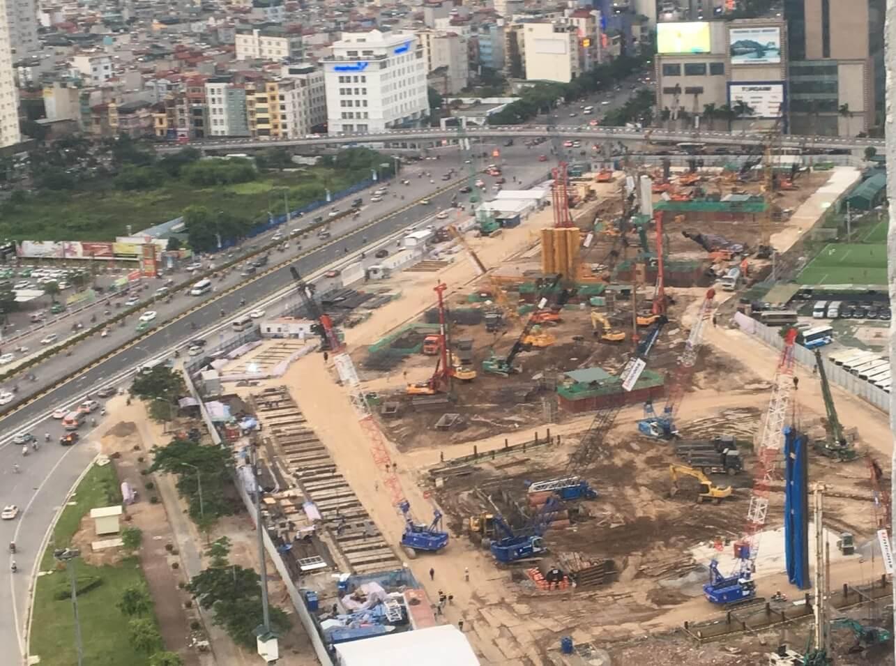 Công trường thi công của dự án D'Capitale Trần Duy Hưng