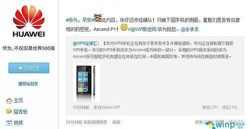 或9月25日發佈 華為WP8工程機已在測試中