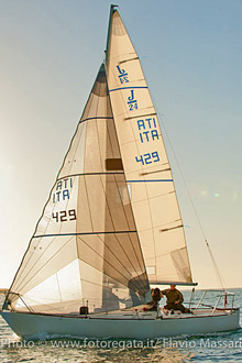J/24 sailboat- sailing off Italy on Mediterannean