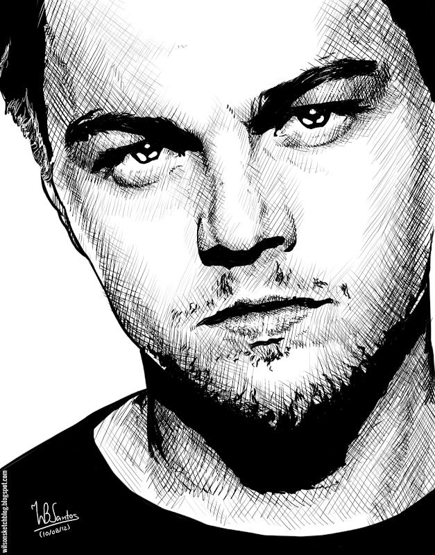 Ink drawing of Leonardo DiCaprio, using Krita 2.4.