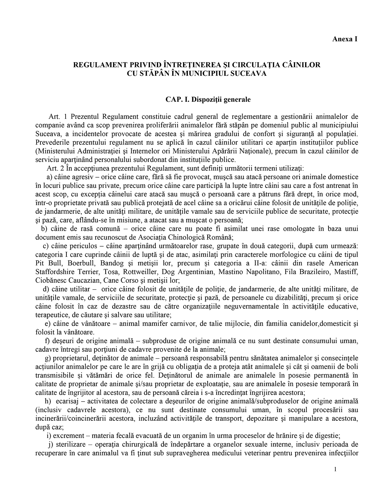Regulament privind întreținerea și circulația câinilor cu stăpân în municipiul Suceava