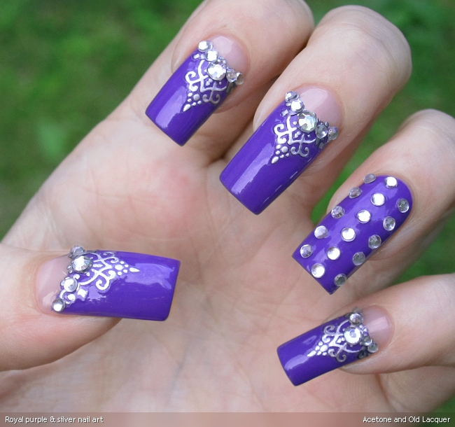 Acetone and old lacquer royal purple silver nail art royal purple silver nail art prinsesfo Gallery