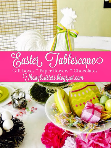 Easter tablescape, pink green yellow easter decoration, the style sisters