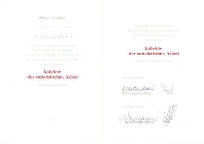 083b Kollektive der sozialistischen Arbeit. Spange für fünffache Verleihung www.ddrmedailles.nl