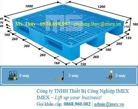 Pallet nhựa Malaysia 1200 x 1100 mm