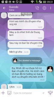 Khách hàng phản hồi về NguyenloiMoving trên Viber