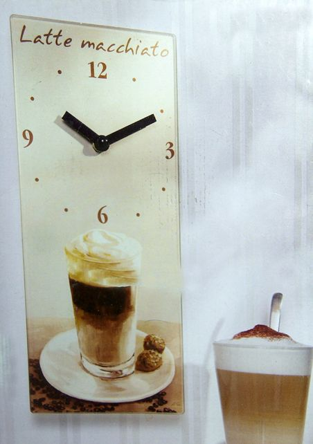 wanduhr latte macchiato cafe kaffee uhr k chenuhr k che glas neu ebay. Black Bedroom Furniture Sets. Home Design Ideas