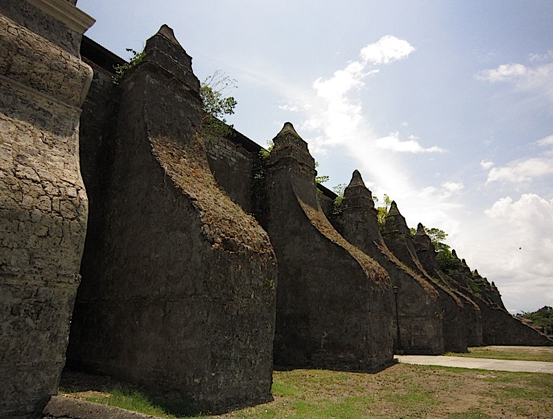 buttresses at one side of the Paoay Church