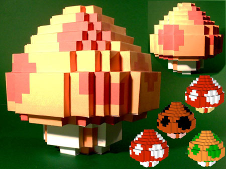 3D 8bit Mushroom Papercraft