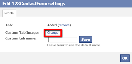 123ContactForm how to change tab image in Facebook