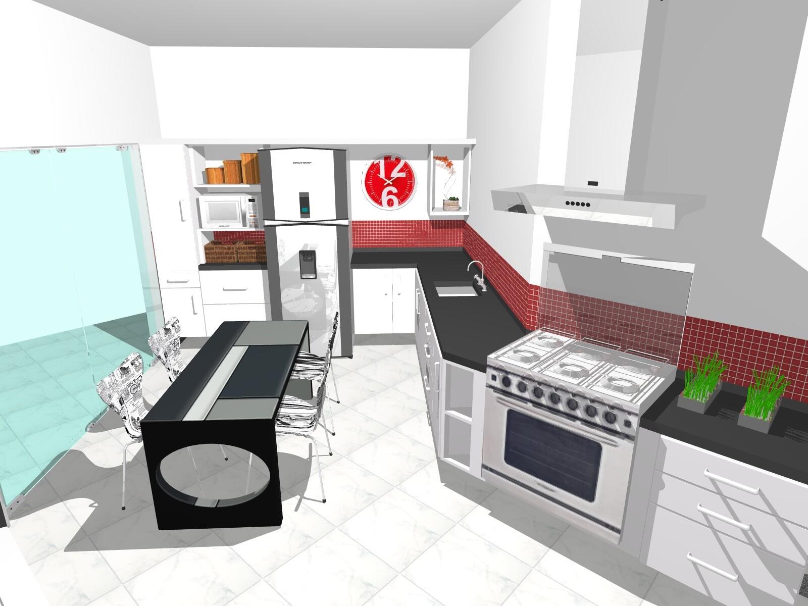 #3E7F16 Para estes clientes propuz uma cozinha moderna e prática para o dia  1600x1200 px Projetos De Cozinha 3d_5315 Imagens