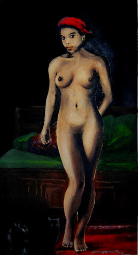 fine art FEMALE NUDE, STANDING, WITH CATS