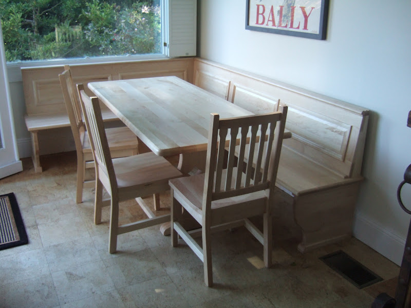 72 x 32 bordeaux dining table gustavus chairs and custom corner bench in natural hard maple - Kitchen Nook Table