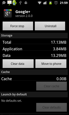 Google+ 2.0 always create Low on Space problem for Nexus One