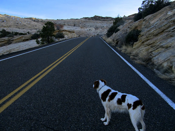 Walking along Highway 12 to the Jeep