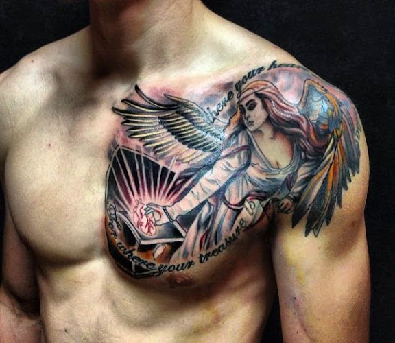 50 Chest Quote Tattoo Designs For Men: 50 Best And Awesome Chest Tattoos For Men