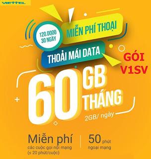 60GB MIỄN PHÍ, Tỷ phút Nội Ngoại mạng Gói V1SV Viettel