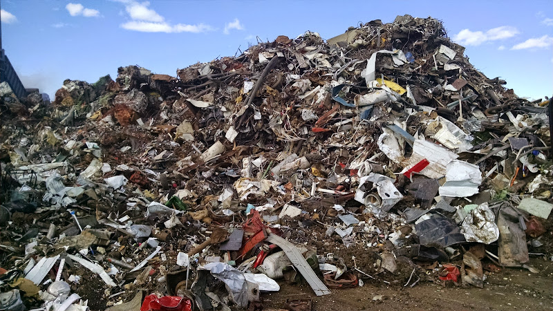 A pile of scrap metal at a metal recycling plant