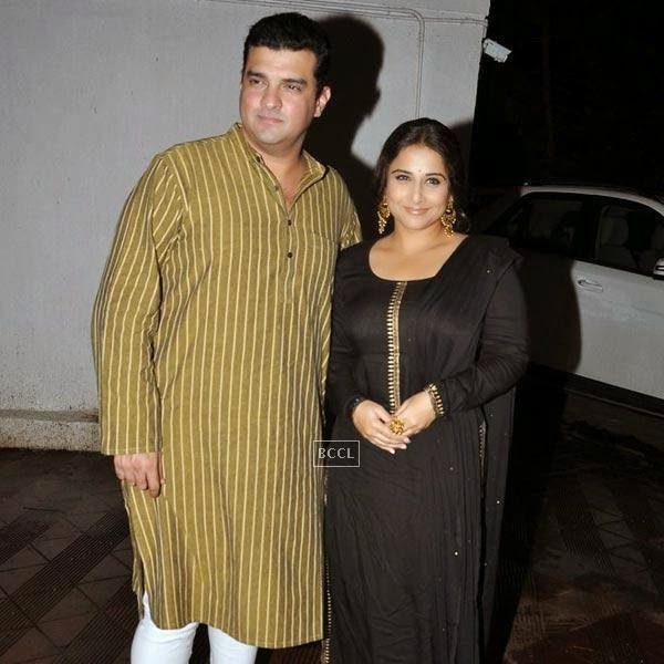 Sidharth Roy Kapur and Vidya Balan during the wrap-party of Bollywood movie Mary Kom, held at Sanjay Leela Bhansali's residence on July 26, 2014.(Pic: Viral Bhayani)