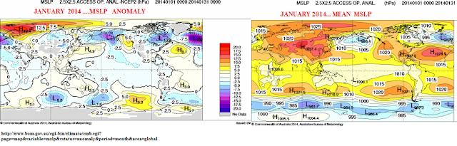 mslp australian anomalies jan 2014