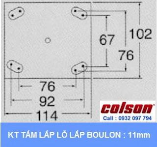 kích thước tấm lắp khóa chân xe đẩy hàng Colson Mỹ chiều cao khi khóa 197mm | 6045x6