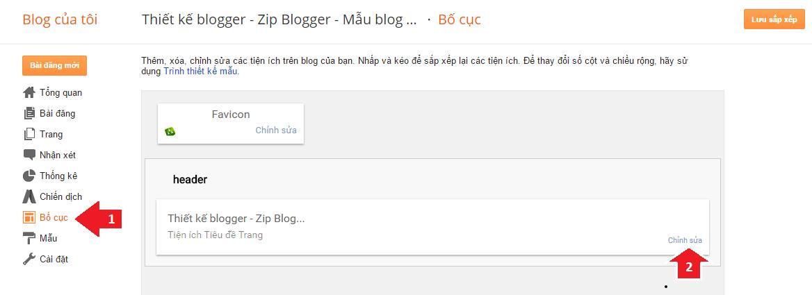 Đăng nhập trang quản trị Blogger => Kích vào Bố cục: