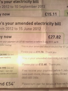 a set of 4 quarterly electric bills for 11,12,15 & 27pounds