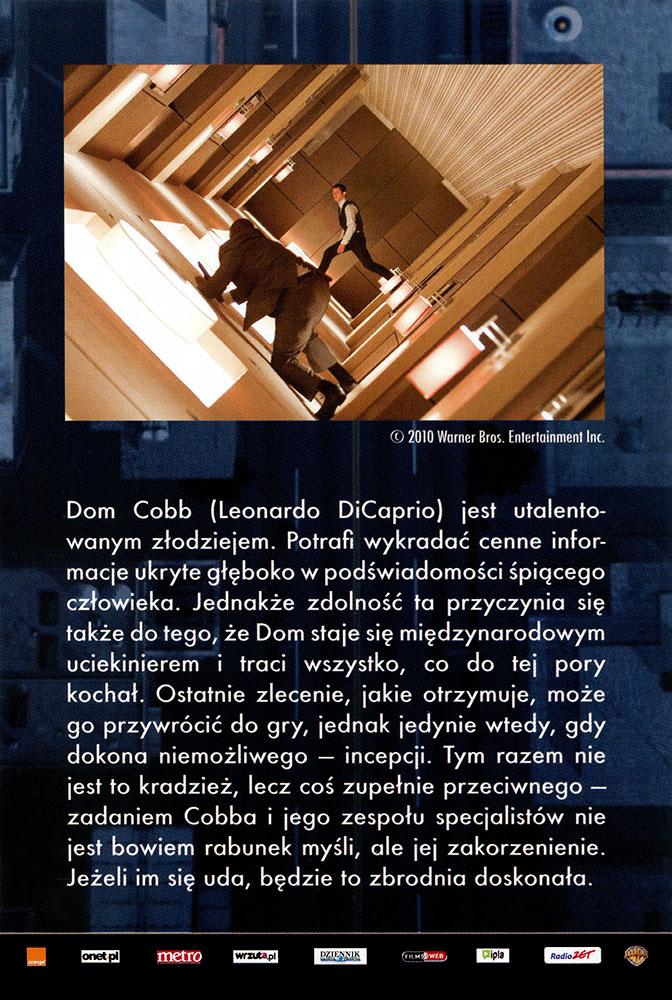 Ulotka filmu 'Incepcja (tył)'