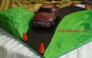 BMW driving school custom designed birthday cake with 3D edible car